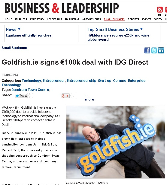 Goldfish.ie signs €100k deal with IDG Direct