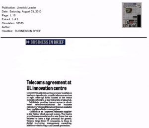 Telecoms agreement at University of Limerick Innovation Centre